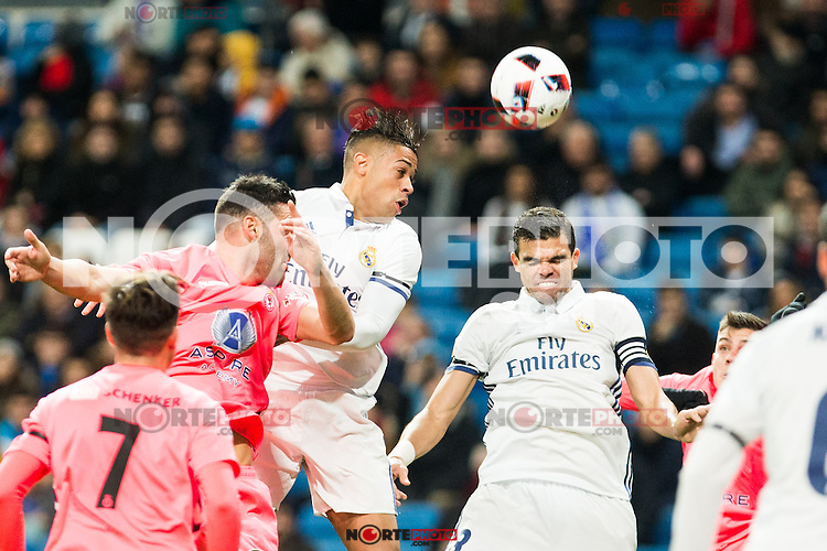 "Real Madrid's Mariano, Kleper Lima Ferreira Pepe during the match of ""Copa del Rey"" between Real Madrid and Cultural Leonesa at Santiago Bernabeu Stadium in Madrid, Spain. November 29, 2016. (ALTERPHOTOS/Rodrigo Jimenez) /NORTEPHOTO.COM"