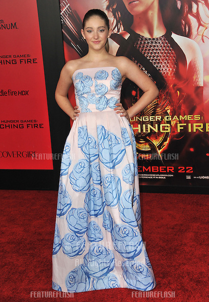 Willow Shields at the US premiere of her movie &quot;The Hunger Games: Catching Fire&quot; at the Nokia Theatre LA Live.<br /> November 18, 2013  Los Angeles, CA<br /> Picture: Paul Smith / Featureflash