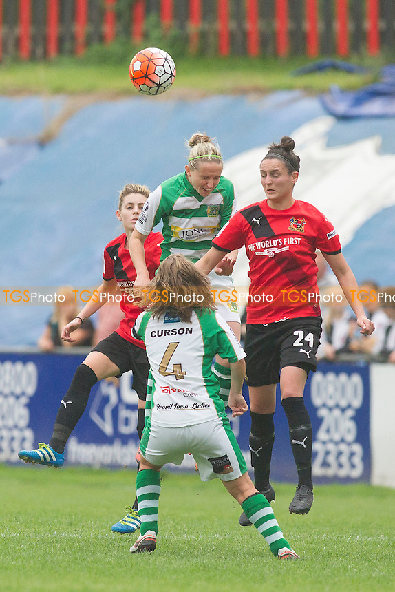 Chelsea Flanagan (Sheffield) is watched by Curson of Yeovil during Sheffield FC Ladies vs Yeovil Town Ladies, FA Women's Super League FA WSL2 Football at the Coach and Horses Ground on 28th August 2016