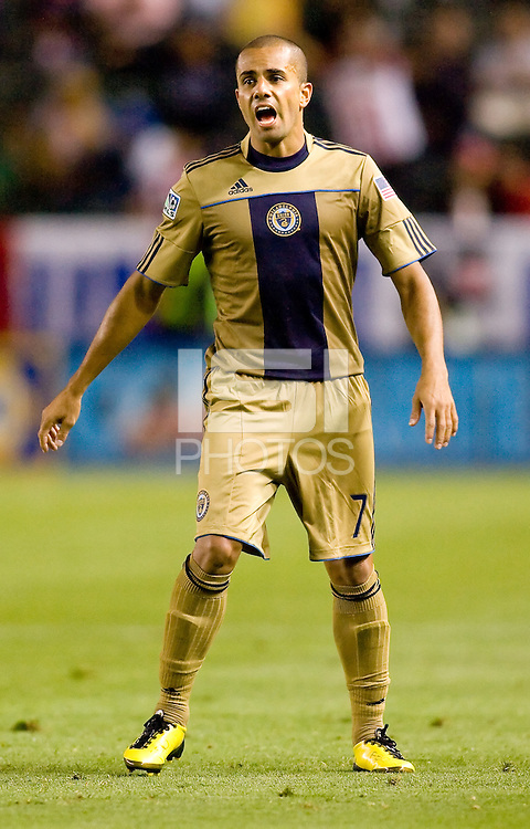 Philadelphia Union midfielder Fred (7) barks out orders to his teammates. The Philadelphia Union and CD Chivas USA played to 1-1 draw at Home Depot Center stadium in Carson, California on Saturday evening July 3, 2010..