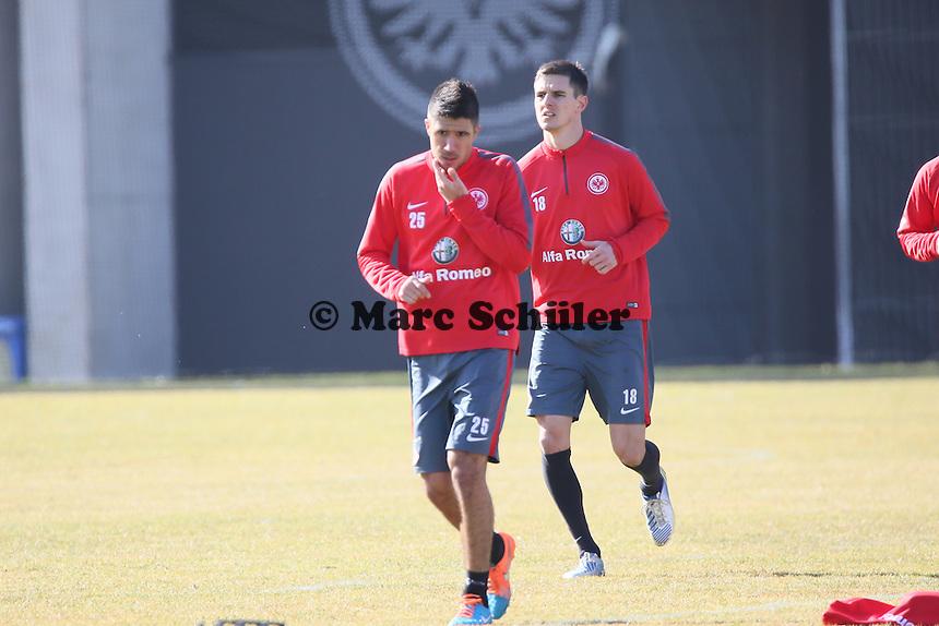 Slobodan Medojevic und Johannes Flum - Eintracht Frankfurt Training, Commerzbank Arena