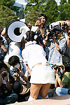 Photographers take pictures of a cosplayer during the Comic Market 90 (Comiket) event in Tokyo Big Sight on August 12, 2016, Tokyo, Japan. Many manga and anime fans wearing cosplay lined up in the sun for the first day of Comiket. Comiket was established in 1975 and focuses on manga, anime, gaming and cosplay. Organizers expect more than 500,000 visitors to attend this year's summer event which runs for three days until August 14. (Photo by Rodrigo Reyes Marin/AFLO)