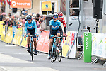 Movistar Team riders and Tom Dumoulin (NED) Team Sunweb losing 9 minutes in the last 20km cross the finish line of Stage 2 of the Criterium du Dauphine 2019, running 180km from Mauriac to Craponne-sur-Arzon, France. 9th June 2019<br /> Picture: Colin Flockton | Cyclefile<br /> All photos usage must carry mandatory copyright credit (© Cyclefile | Colin Flockton)