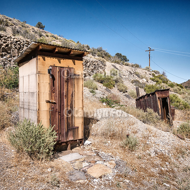 Two outhouses, ghost town of Tybo, Nev., in the Hot Springs Range.