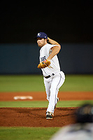 Charlotte Stone Crabs relief pitcher Zack Mozingo (15) during a game against the Dunedin Blue Jays on June 5, 2018 at Charlotte Sports Park in Port Charlotte, Florida.  Dunedin defeated Charlotte 9-5.  (Mike Janes/Four Seam Images)