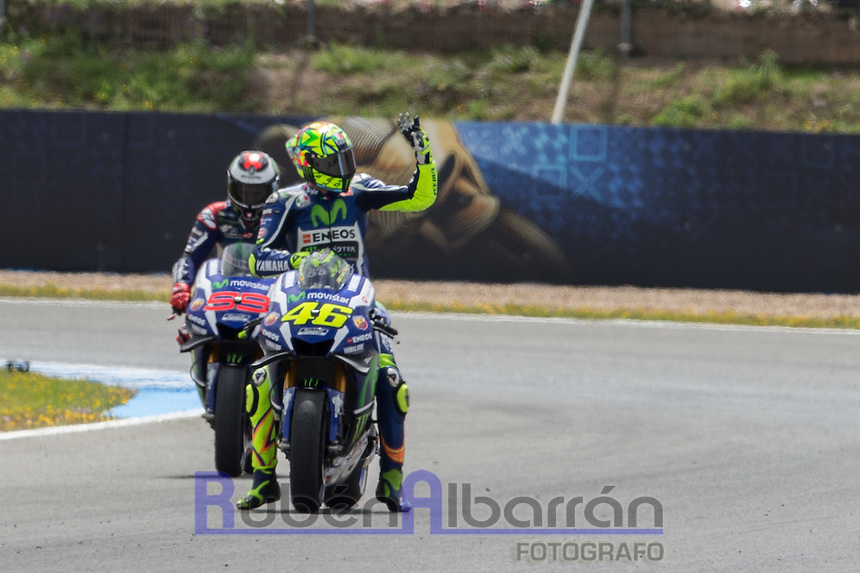 Valentino Rossi celebrating during the qualifying in Motorcycle Championship GP, in Jerez, Spain. April 23, 2016
