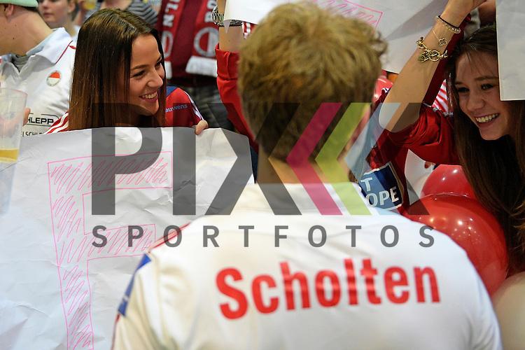 GER - Luebeck, Germany, February 06: After the 1. Bundesliga Herren indoor hockey semi final match at the Final 4 between Berliner HC (red) and Rot-Weiss Koeln (white) on February 6, 2016 at Hansehalle Luebeck in Luebeck, Germany. Final score 2-3 (HT 6-10). <br /> <br /> Foto &copy; PIX-Sportfotos *** Foto ist honorarpflichtig! *** Auf Anfrage in hoeherer Qualitaet/Aufloesung. Belegexemplar erbeten. Veroeffentlichung ausschliesslich fuer journalistisch-publizistische Zwecke. For editorial use only.