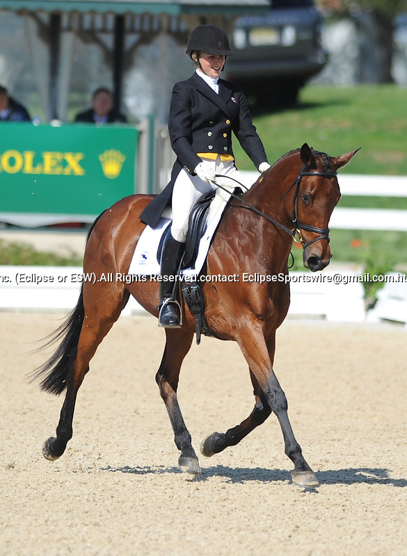 Jessica Phoenix(CAN), competing on EXPLORING, during the Dressage Test at the Rolex 3-Day 4-Star Event at the Kentucky Horse Park in Lexington, Kentucky on April 28, 2011.