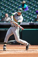 Baylor Bears first baseman Aaron Dodson (19) swings the bat during Houston College Classic against the Hawaii Rainbow Warriors on March 6, 2015 at Minute Maid Park in Houston, Texas. Hawaii defeated Baylor 2-1. (Andrew Woolley/Four Seam Images)