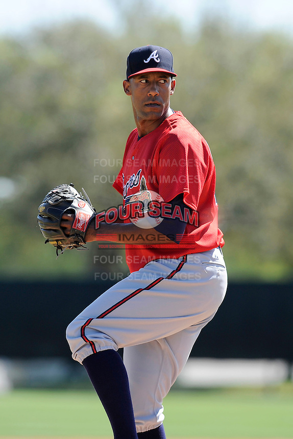 Pitcher Carlos Fisher (40) of the Atlanta Braves farm system in a Minor League Spring Training workout on Monday, March 16, 2015, at the ESPN Wide World of Sports Complex in Lake Buena Vista, Florida. (Tom Priddy/Four Seam Images)