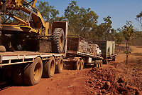 Nick and Joanna Atkins' road train makes its way up a tricky steep section, on the Gibb River Road, on their way from Kununurra to Kalumburu.