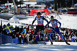 FALUN, SWEDEN - March 24: (L-R) Ida Sargent of USA (USA) and Mona-Lisa Malvalehto of Finland (FIN) during the Viessmann Ladies Handicap 10km F at the FIS Cross country World Cup Final on March 24, 2013 in Falun, Sweden. (Photo by Dirk Markgraf)