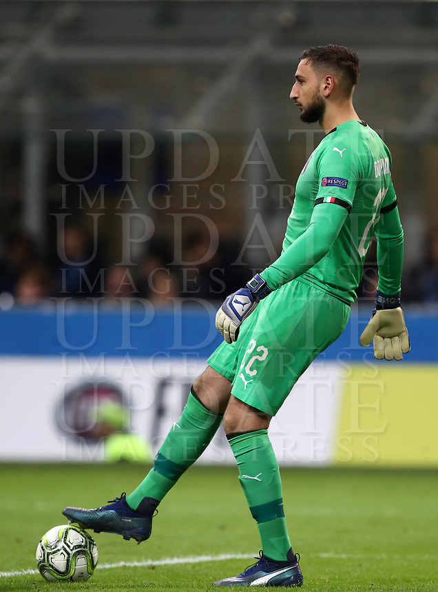 Football: Uefa Nations League Group 3match Italy vs Portugal at Giuseppe Meazza (San Siro) stadium in Milan, on November 17, 2018.<br /> Italy's goalkeeper Gianluigi Donnarumma in action during the Uefa Nations League match between Italy and Portugal at Giuseppe Meazza (San Siro) stadium in Milan, on November 17, 2018.<br /> UPDATE IMAGES PRESS/Isabella Bonotto