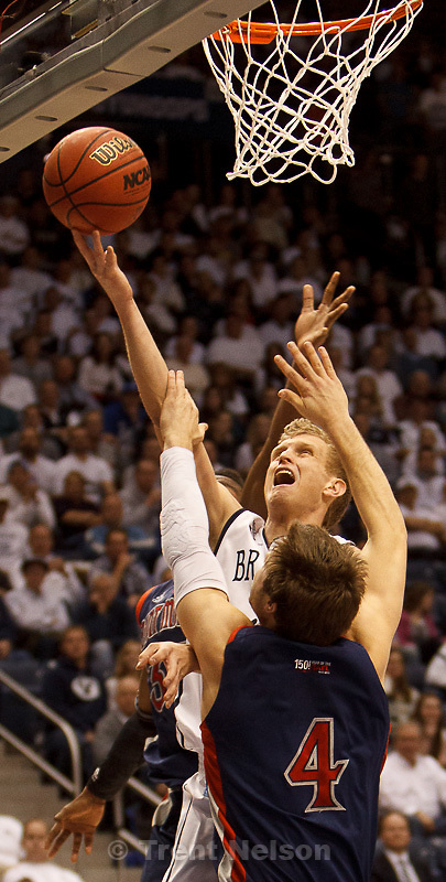 Trent Nelson  |  The Salt Lake Tribune.BYU guard Tyler Haws (3) shoots the ball, with Saint Mary's guard Matthew Dellavedova (4) defending, as BYU hosts Saint Mary's, college basketball Wednesday January 16, 2013 in Provo.