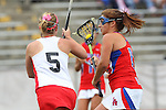 Redondo Beach, CA 05/14/11 - Allie Conrad (Los Alamitos #13) and Ava Elsner (Redondo Union #5)in action during the 2011 US Lacrosse / CIF Southern Section Division 1 Girls Varsity Lacrosse Championship, Los Alamitos defeated Redondo Union 17-5.