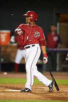Harrisburg Senators catcher Pedro Severino (4) at bat during a game against the New Hampshire Fisher Cats on July 21, 2015 at Metro Bank Park in Harrisburg, Pennsylvania.  New Hampshire defeated Harrisburg 7-1.  (Mike Janes/Four Seam Images)