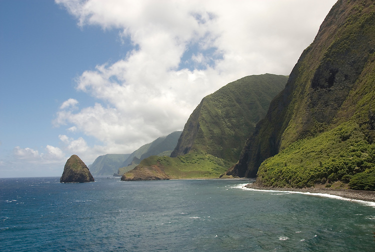 Hawaii: Molokai, cliffs and seafins at Kalawao, with view of Waikoloa River Valley, scenic..Photo himolo107-71891..Photo copyright Lee Foster, www.fostertravel.com, lee@fostertravel.com, 510-549-2202