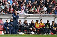 FUSSBALL  1. BUNDESLIGA  SAISON 2011/2012  29. Spieltag   07.04.2012 VfB Stuttgart - 1. FSV Mainz Enttaeuschung ; Trainer Thomas Tuchel (li) fassungslos vor der Ersatzbank
