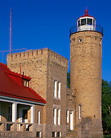 Cheboygan County, MI   <br /> Old Mackinac Point Lighthouse (1898) on the straits of Mackinac, between Lakes Michigan and Huron