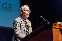 """Warrington """"Warry"""" MacElroy '60<br /> Retired professor Bob Winter receives an honorary degree at the morning meeting of the Fifty Year Club on Sunday, June 22, 2014.<br /> Photo by Don Milici, Freelance"""