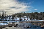 Late winter scene in Franklin, Maine, USA