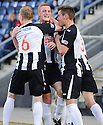 Pars' Ryan Thomson (centre) celebrates after he scores Dunfermline's second  ...