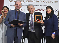 Ciudad de México, México, 09 de diciembre de 2019.<br /> <br /> Andrés Manuel López Obrador, Presidente de México encabezó la Entrega del Premio internacional Carlos Fuentes, Premio CONACYT, Premio de las Artes y las Ciencias.<br /> <br /> Foto: Presidencia