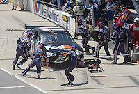 May 6, 2007; Richmond, VA, USA; Nascar Nextel Cup Series driver Denny Hamlin (11) pits during the Jim Stewart 400 at Richmond International Raceway. Mandatory Credit: Mark J. Rebilas