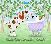 Kate, CUTE ANIMALS, LUSTIGE TIERE, ANIMALITOS DIVERTIDOS, paintings+++++Mum and baby,GBKM374,#ac#, EVERYDAY ,dogs,dog
