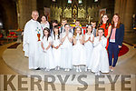 Pupils from Scoil Saidhbhin, Cahersiveen who made their First Holy Communion in the O'Connell Memorial Church Cahersiveen on Saturday were front l-r; Haley Barry, Aoife Cournane, Katie O'Connor, Doireann O'Shea, Sophia Walsh, Amie Kelly, back l-r; Fr Larry Kelly, Mary Sugrue(Principal), Adam Nassar, Sean Griffin, Romas Alimas, Kevinas Sliauteris, Catriona Casey(teacher) & Patricia Clifford(teacher).