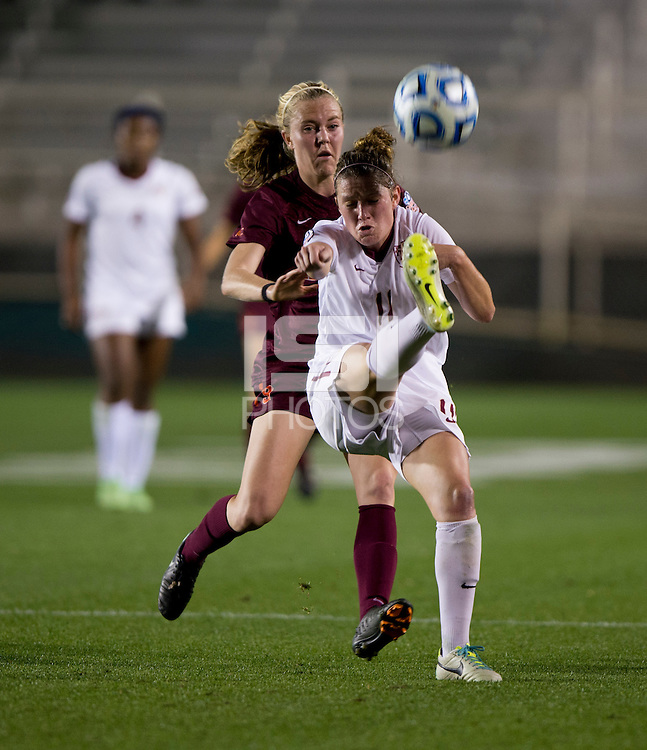 Isabella Schmid, Kelsey Loupee. Florida State defeated Virginia Tech, 3-2,  at the NCAA Women's College Cup semifinals at WakeMed Soccer Park in Cary, NC.