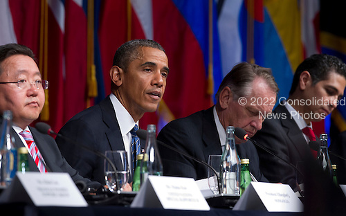 United States President Barack Obama, center, makes remarks during the International Civil Society event  in New York, New York, on Monday, September 23, 2013. <br /> Credit: Jin Lee / Pool via CNP