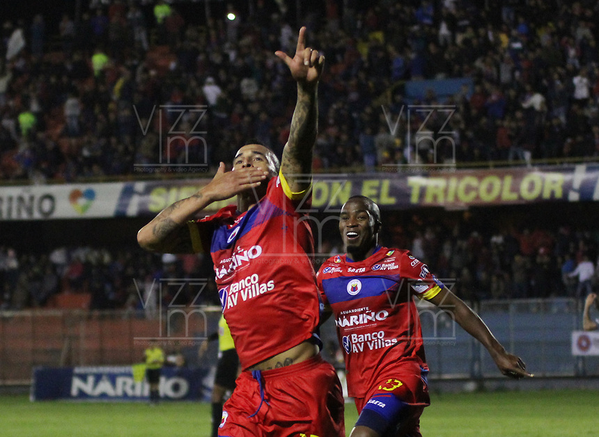 PASTO - COLOMBIA - 24 - 03 - 2018: Gaston Cellerino, jugador de Deportivo Pasto celebra el segundo gol de su equipo anotado a America de Cali, durante partido Deportivo Pasto y America de Cali, de la fecha 10 por la Liga Aguila I 2018, jugado en el estadio Departamental Libertad de la ciudad de Pasto.  / Gaston Cellerino, player of Deportivo Pasto celebrates the second scored goal from his team to America de Cali, during a match Deportivo Pasto and America de Cali, of the 10th date for the Liga Aguila I 2018 at the Departamental Libertad stadium in Pasto city. Photo: VizzorImage. / Leonardo Castro / Cont.