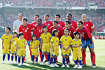 11 February 2006: Costa Rica's starting eleven, with young escorts. The Costa Rica Men's National Team defeated South Korea 1-0 at McAfee Coliseum in Oakland, California in an International Friendly soccer match.