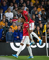 Anthony Martial celebrates his goal with Marcus Rashford of Man Utd during the Premier League match between Wolverhampton Wanderers and Manchester United at Molineux, Wolverhampton, England on 19 August 2019. Photo by Andy Rowland.
