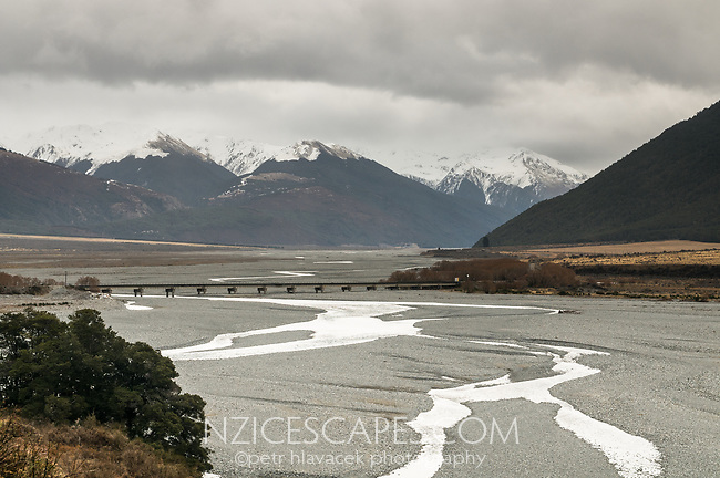 Waimakariri River with railway bridge near Arthur's Pass, Canterbury, New Zealand