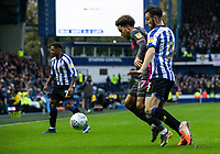 Leeds United's Helder Costa (centre) competing with Sheffield Wednesday's Morgan Fox (right) <br /> <br /> Photographer Andrew Kearns/CameraSport<br /> <br /> The EFL Sky Bet Championship - Sheffield Wednesday v Leeds United - Saturday 26th October 2019 - Hillsborough - Sheffield<br /> <br /> World Copyright © 2019 CameraSport. All rights reserved. 43 Linden Ave. Countesthorpe. Leicester. England. LE8 5PG - Tel: +44 (0) 116 277 4147 - admin@camerasport.com - www.camerasport.com