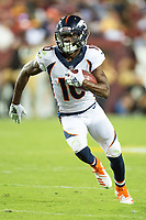 Landover, MD - August 24, 2018: Denver Broncos wide receiver Emmanuel Sanders (10) scores a touchdown during preseason game between the Denver Broncos and Washington Redskins at FedEx Field in Landover, MD. The Broncos defeat the Redskins 29-17. (Photo by Phillip Peters/Media Images International)