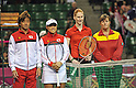 (L-R)  Takeshi Murakami, Ayumi Morita (JPN), Alison van Uytvanck, Ann Devries (BEL),.APRIL 21, 2012 - Tennis :.Japan's Ayumi Morita and captain Takeshi Murakami pose with Belgium's Alison van Uytvanck and captain Ann Devries before the first Singles match on day one of the Fed Cup 2012 World Group Play-Offs Japan vs Belgium at Ariake Colosseum in Tokyo, Japan. (Photo by AFLO)
