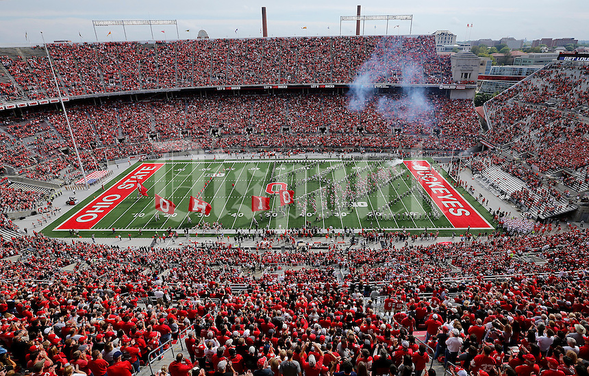 The Ohio State Buckeyes take the field for the NCAA football game against the Rutgers Scarlet Knights at Ohio Stadium in Columbus on Oct. 1, 2016. Ohio State won 58-0. (Adam Cairns / The Columbus Dispatch)