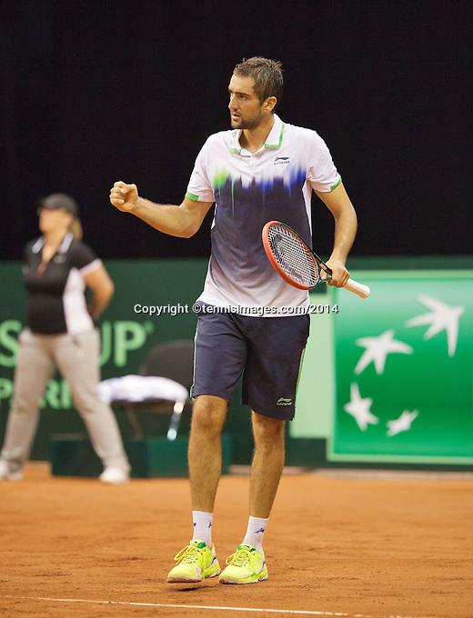 September 14, 2014, Netherlands, Amsterdam, Ziggo Dome, Davis Cup Netherlands-Croatia, Marin Cilic (CRO) reacts<br /> Photo: Tennisimages/Henk Koster