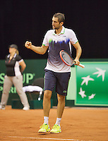 September 14, 2014, Netherlands, Amsterdam, Ziggo Dome, Davis Cup Netherlands-Croatia, Marin Cilic (CRO) reacts<br /> Photo: Tennisimages/Henk Koster