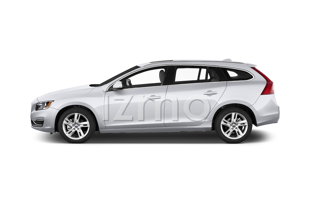 Car Driver side profile view of a 2017 Volvo V60 T5 5 Door Wagon Side View