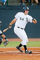 Dan Black #54 of the Bristol White Sox follows through on his swing against the Greeneville Astros at Boyce Cox Field July 1, 2010, in Bristol, Tennessee.  Photo by Brian Westerholt / Four Seam Images