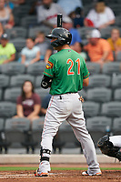 Down East Wood Ducks Diosbel Arias (21) at bat during a Carolina League game against the Fayetteville Woodpeckers on August 13, 2019 at SEGRA Stadium in Fayetteville, North Carolina.  Fayetteville defeated Down East 5-3.  (Mike Janes/Four Seam Images)