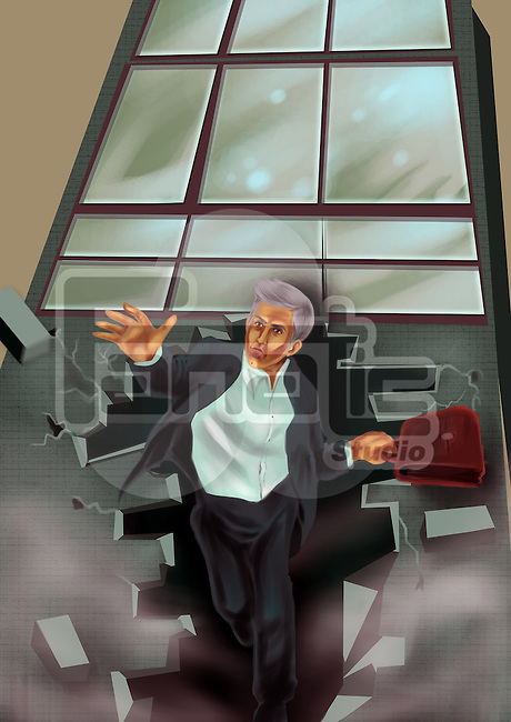 Illustrative image of businessman coming out from office building representing freedom