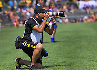 Photographer Reef Reid shoots the Super Rugby preseason match between the Hurricanes and Crusaders at Levin Domain in Levin, New Zealand on Saturday, 2 February 2019. Photo: Dave Lintott / lintottphoto.co.nz
