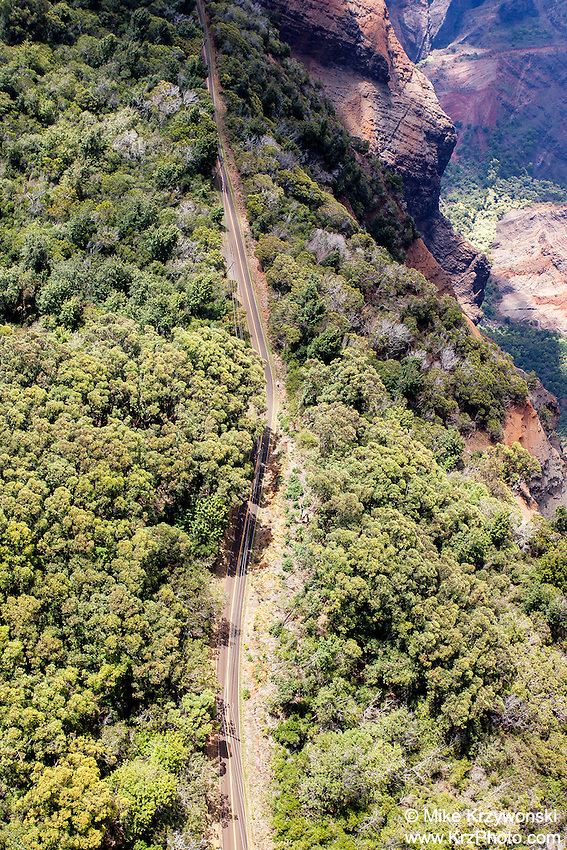 Aerial view of Waimea Canyon Drive, Kauai