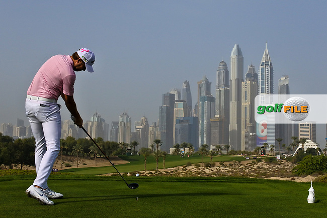 Steven Brown (ENG) on the 8th tee during Round 2 of the Omega Dubai Desert Classic, Emirates Golf Club, Dubai,  United Arab Emirates. 25/01/2019<br /> Picture: Golffile | Thos Caffrey<br /> <br /> <br /> All photo usage must carry mandatory copyright credit (© Golffile | Thos Caffrey)