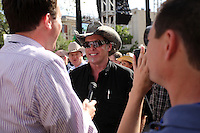 Musician Ted Nugent, middle, speaks with members of the press, Wednesday, April 15, 2009, at the Alamo in San Antonio. (Darren Abate/pressphotointl.com)